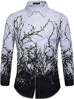 Men's Long Sleeve Tie Dye T-Shirt Tops Blouse for Spring Autumn Mens Casual Oversized Buttons Tie-dye Cotton Linen Slim Fi...