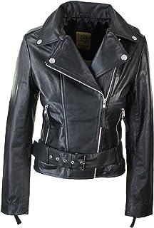 ff66e07651 Perfecto femme cuir véritable coupe cintrée vintage biker avec ceinture et  fermeture éclair
