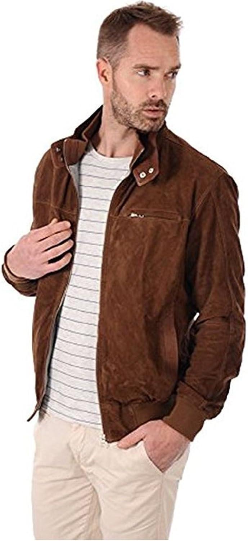 d058ca1d081e4 New York Men Men Men Leather Jacket Genuine Pure Lambskin Leather Slim Fit  Biker Jacket Brown Suede 773333