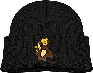 Unisex-Child Knit Beanie Hat Monkey Clipart Cuffed Cotton Soft Funny Skull Cap Black