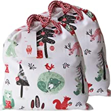 PRIMROSIA Large Organic Cotton Bags with Tag I Thick Cord Drawstring I Set of Two, 46cm x 41cm I Cute Forest Animals in Th...