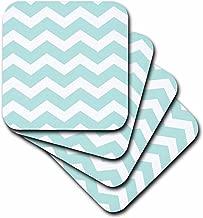 3dRose cst_179677_1 Mint Blue and White Zig Zag Chevron Pattern Pastel Turquoise Teal Aqua-Soft Coasters, Set of 4