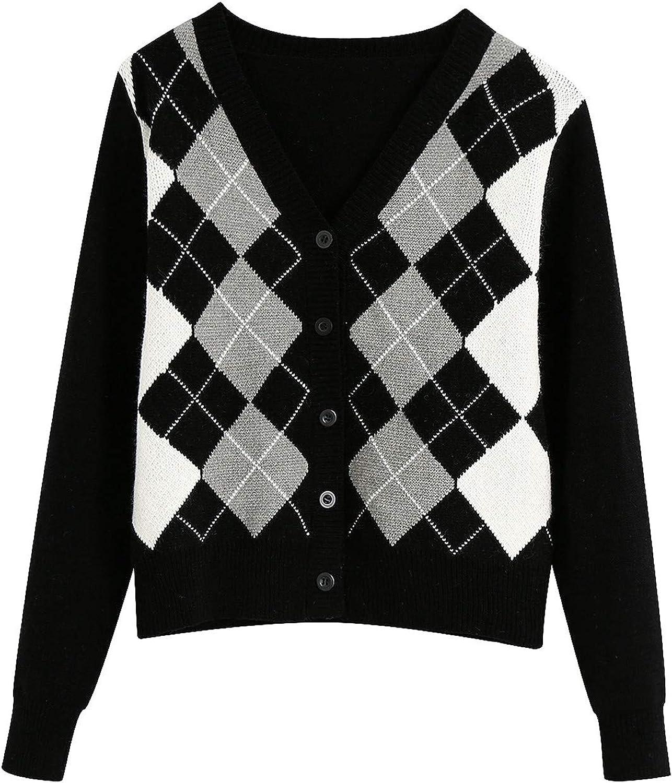 Balaflyie Women's V-Neck Argyle Cardigan Sweater Knitwear Checkered Long Sleeve Button Down Coat Button Loose Outerwear