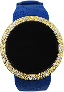 Techno Pave Iced Out Bling Lab Created Gold Blue Digital Touch Screen Sports Smart Watch Silicone Band