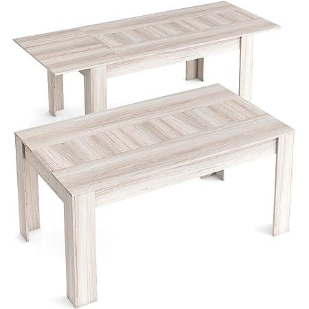 Skraut Home - Table de Salle à Manger de 140cm Extensible 200cm, Couleur Shamal, Mesures: 90.4 Largeur x 140.4/200.4 Longueur 76.1 Hauteur