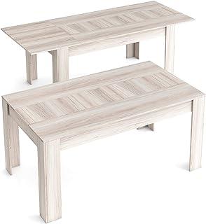 Skraut Home - Table de Salle à Manger de 140cm Extensible 200cm, Couleur Shamal, Mesures: 90.4 Largeur x 140.4/200.4 Longu...