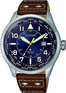 ساعة تعمل بالطاقة الشمسية وعرض انالوج وسوار جلدي للرجال من سيتيزن BX1010-11L