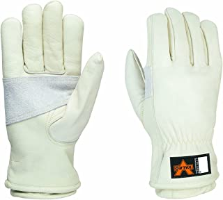 Valeo V620 Heavy Duty, Kevlar Lined, Leather Work Gloves for Men and Women. Construction, General Purpose, Driver, Rigger, Safety, and Gardening Gloves VI4888, Pair, White, Medium