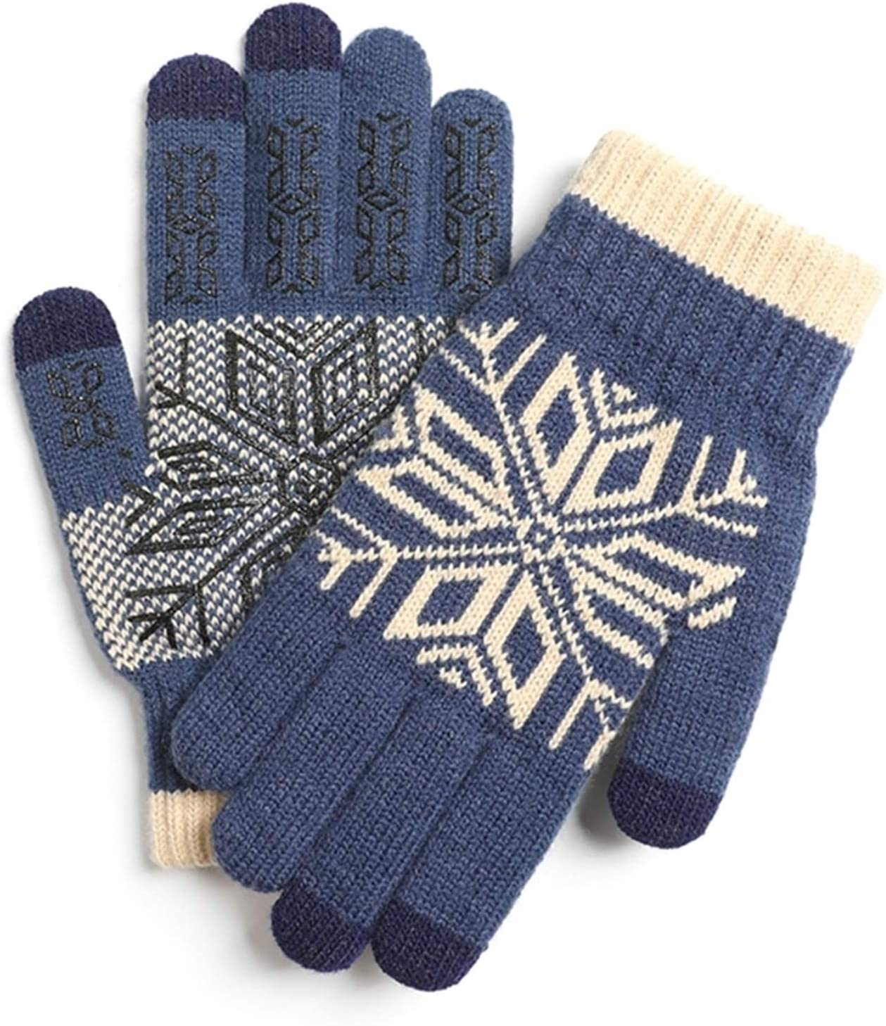 Gloves Men Winter Touch Screen Snowflake Knitted Warm Gloves Soft Plush Lining Elastic Cuff Mittens Warm (Color : 3, Gloves Size : Large)
