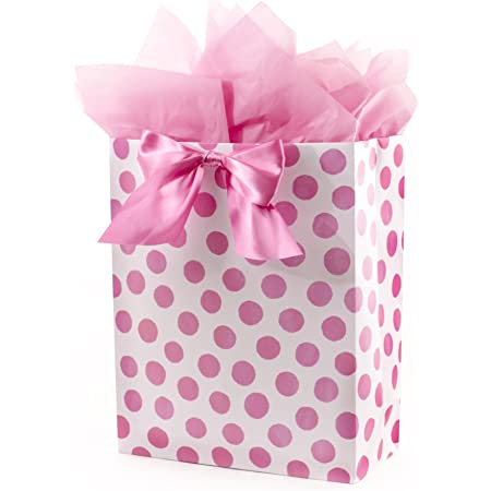 Hallmark Extra Large Gift Bag with Tissue Paper (Pink Polka Dots and Bow)