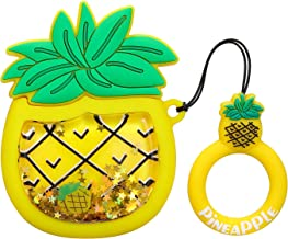 Joyleop Quicksand Pineapple Case Compatible with Airpods 1/2,Cute 3D Cartoon Fun Funny Kids Girls Teens Cover,Kawaii Fruit Bling Glitter Fashion Silicone Character Airpod Skin Cases for Air pods 1&2