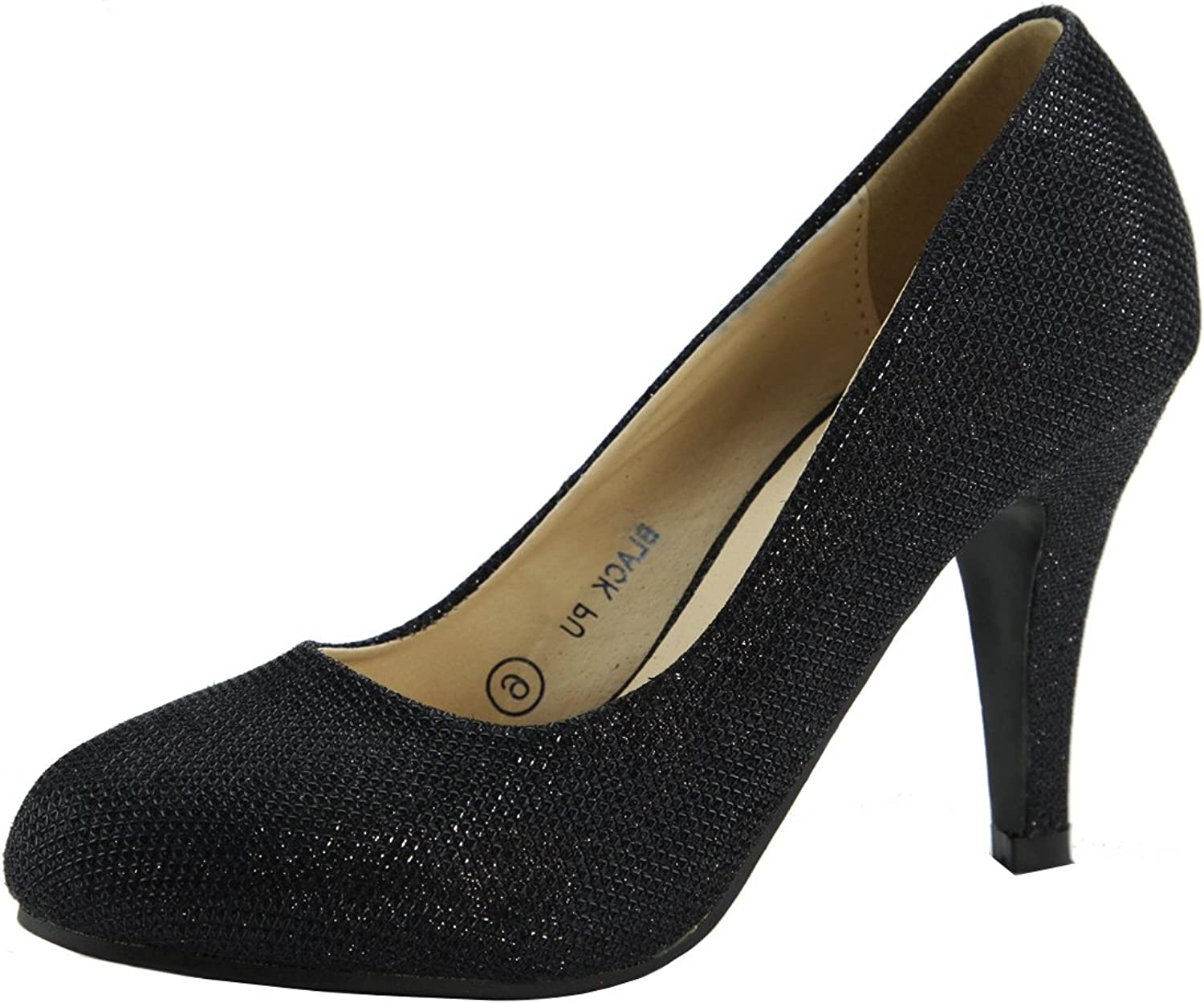 Bella Marie Metallic Sparkle Mesh Overlay Special Occasion High Heel Round Toe Pump