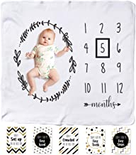 Baby Monthly Milestone Blanket | Thick Fleece Swaddle & Throw for Infant & Babies 0-3 Months, 3-6, 6-9, 9-12 | Photography Backdrop Photo Prop for Newborn Boy & Girl - New Mom Baby Shower Gift