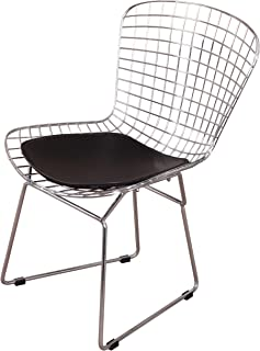 MLF Harry Bertoia Wire Side Chair (Set of 1). Chromed Wire Frame with Plastic Feet & PU Leather Cushion. (Black)
