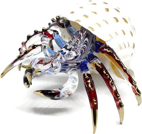 NaCraftTH Glass Figure Hermit Crab In Seashell Murano Glass Blow Artwork Handicraft Crystal Ocean Sea Animal Figurine Fish Tank Aquarium Decorations Big