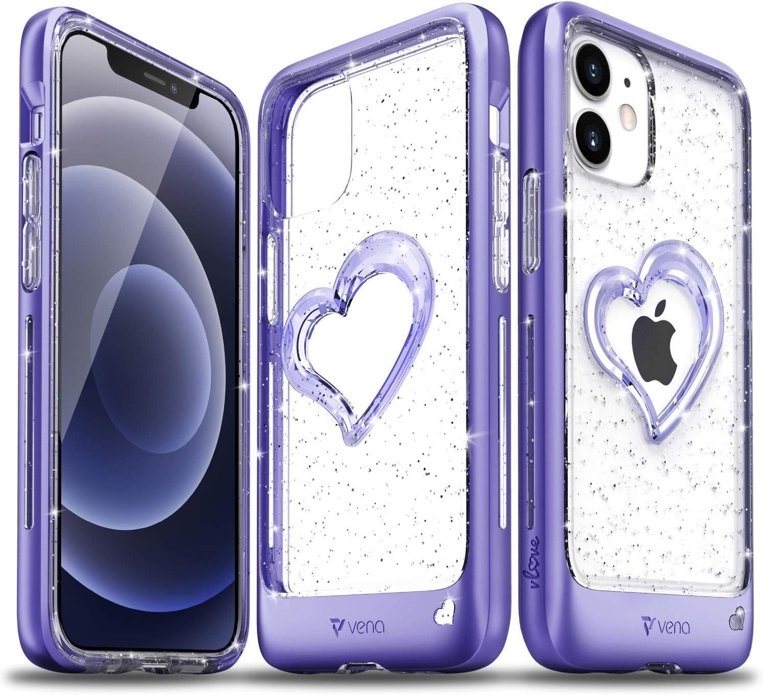 VENA iPhone 12 Mini Glitter Case, vLove (Heart Shape, CornerGuard Protection) Dual Layer Slim Hybrid Clear Bumper Cover Designed for Apple iPhone 12 Mini (5.4
