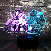 Marvel Hero Super Deadpool Iron Man Cute Finger Heart Avengers LED Mixed 7 Color USB Charge Night Lamp Fans Friends Fun Gift(Mixed Love Deadpool)