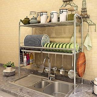 Au-dessus de la boîte à vaisselle d'évier, ustensil de cuisine étagère de rangement en acier inoxydable étagère d'économie...