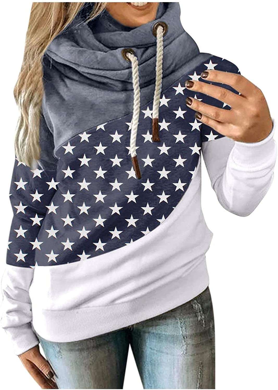 Hoodies for Women, Women's Crewneck Color Block Dot Print Long Sleeve Hooded Sweatshirts Teen Girls Pullover Sweater Top