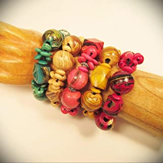 5pc Hand Painted Wood Beaded Stretch Fashion Bracelets Wholesale Lot 5 Colors