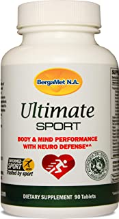 BergaMet Ultimate Sport 90 Tablets - Performance Supplement | Improved Reaction | Boosts Energy | Increased Endurance & Recovery | Enhanced Focus | Neuro Protection - Clinically Proven Ingredients