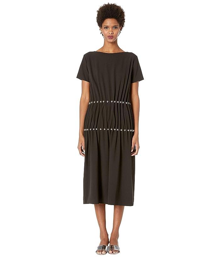 Boutique Moschino Short Sleeve Jewel Pleated Dress (Back) Women