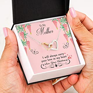 To My Mother Interlocking Hearts Necklace Pendant Gifts For Mom - Jewelry Steel Necklaces Chain 22 Inches For Mommy From Daughter, Son With Love Quotes - Birthday, Mother`s Day, X-mas Gift Box P18