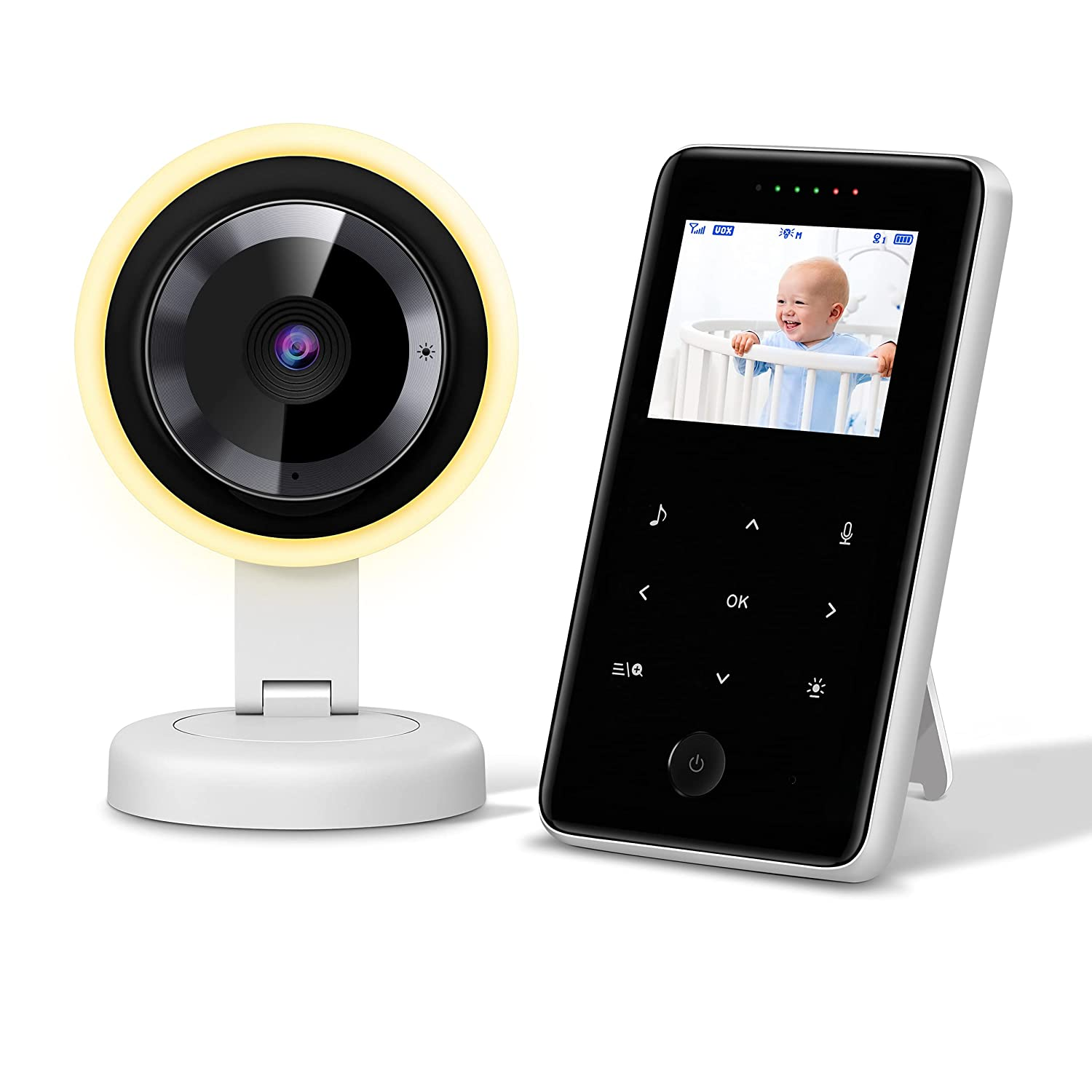 【2021 Newest】Video Baby Monitor with Camera, Audio and Night Light, Digital 2.4Ghz Wireless Baby Monitor, Auto Night Vision, Touch Control, Two-Way Talk, 960ft Range, VOX Mode, 2.4 Inch Display
