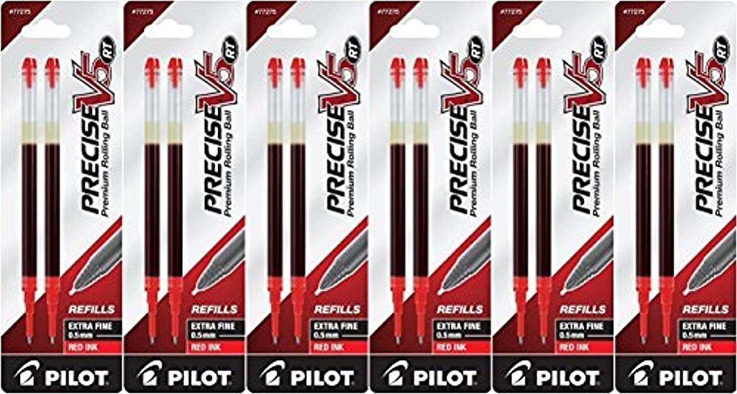 Value Pack of 6 - Pilot Precise V5 RT Liquid Ink Refill, 2-Pack for Retractable Rolling Ball Pens, Extra Fine Point, Red Ink (77275)
