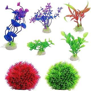 SourceTon Paquete de 2 Bolas Falsas de Marimo Moss y 5 Plantas de Acuario Artificial, Fish Tank Decorations Decoración para el hogar Color Surtido de plástico