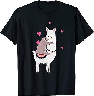 Sloth Riding Llama Best Friends Alpaca Animal Lover Gift T-Shirt