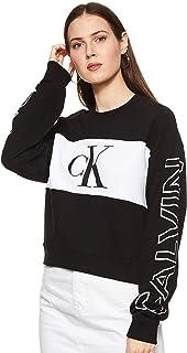 Calvin Klein womens BLOCKING SATEMENT LOGO CREW NECK BLOCKING SATEMENT LOGO CREW NECK