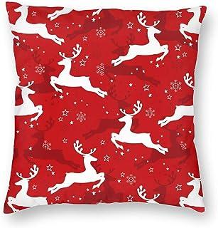 Guan_Collection Copos de nieve, estrellas y ciervos funda de almohada Feliz Navidad fundas de almohada 45,7 x 45,7 cm para decoración del hogar, fundas de almohada suaves y agradables al tacto