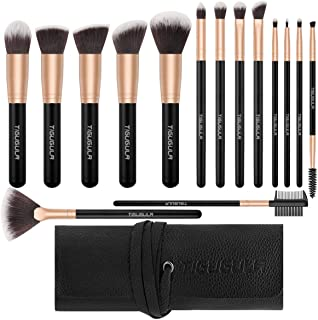 Makeup Brushes 15 Pcs Professional Makeup Brush Set Premium Synthetic Brush Foundation Brush Powder Blending Blush Highlighter Concealer Lip Face Eyeshadow Brushes Kit with PU Leather Roll Bag