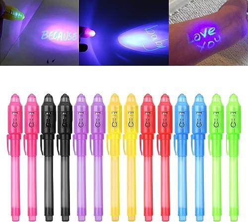 iZoeL Lot de 14 crayons à encre invisible avec lumière UV Cadeau d'anniversaire idéal pour les enfants 7 couleurs ass...