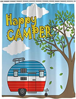 Meet 1998 Vintage Rv Camping Shower Curtain Mildew and Waterproof Fabric Polyester with Hooks,48 X 72 Inch,Camper Travel Trailers