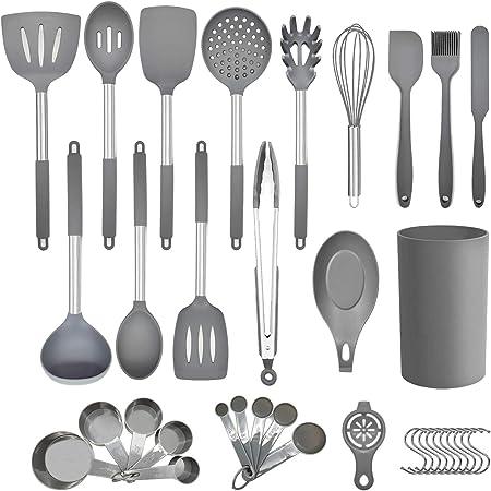Juego de utensilios de cocina de cocina, 36 piezas de utensilios de cocina de silicona antiadherente con soporte, mango de acero inoxidable, juego de utensilios de cocina de silicona resistente al calor