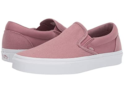 Vans Classic Slip-Ontm ((Herringbone) Nostalgia Rose/True White) Skate Shoes