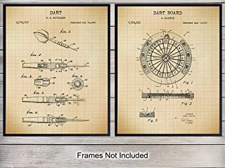 Dart Board Patent Art Prints - Vintage Wall Art Poster Set - Chic Rustic Home Decor for Bedroom, Living Room, Man Cave, Bathroom, Game, Rec, Family Room, Bar - Gift for Men - 8x10 Photo - Unframed