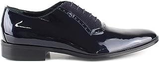 Oxford - Zapatos de ceremonia para hombre, clásicos, artesanales, de pintura y purpurina azul