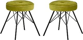 Rivet Stevie Velvet Mid-Century Modern Kitchen Bar Stools, Set of 2, 20.9 Inch Height, Yellow Green