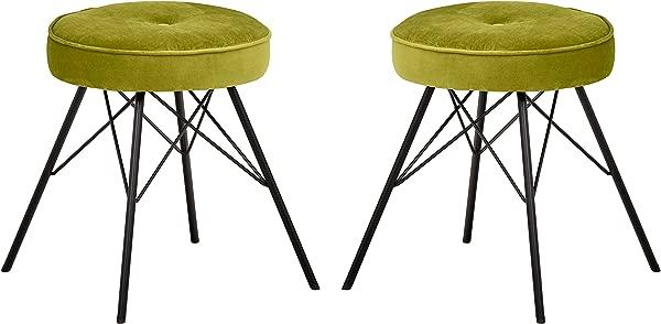 Rivet Stevie Velvet Mid Century Modern Kitchen Bar Stools Set Of 2 20 9 Inch Height Yellow Green