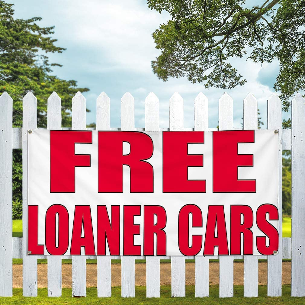 Vinyl Banner Multiple Sizes Free Loaner Car Advertising Printing B Business Outdoor Weatherproof Industrial Yard Signs White 8 Grommets 48x96Inches