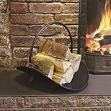 Traditional Vintage Black/Bronze Steel Log Holder Cradle Basket, Decorative Fireside Wood Burner Storage Stand with Carry Handle - 48X42X36cm