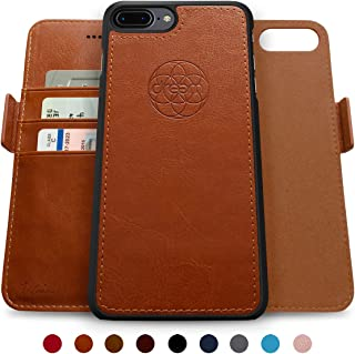 Dreem Fibonacci 2-in-1 Wallet-Case for iPhone 8 & 7, Magnetic Detachable Shock-Proof TPU Slim-Case, Allows Wireless Charging, RFID Protection, 2-Way Stand, Luxury Vegan Leather, Gift-Box - Caramel
