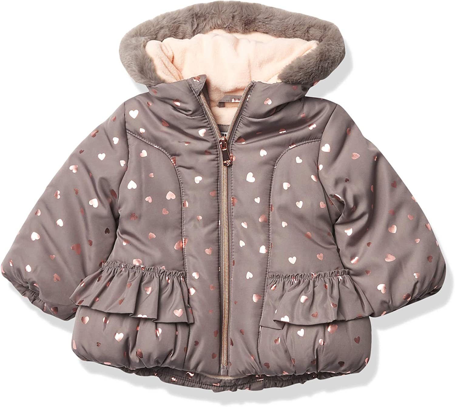 Kensie - Girl's Outerwear Baby Girls Quilted Puffer with Faux Fur Trim