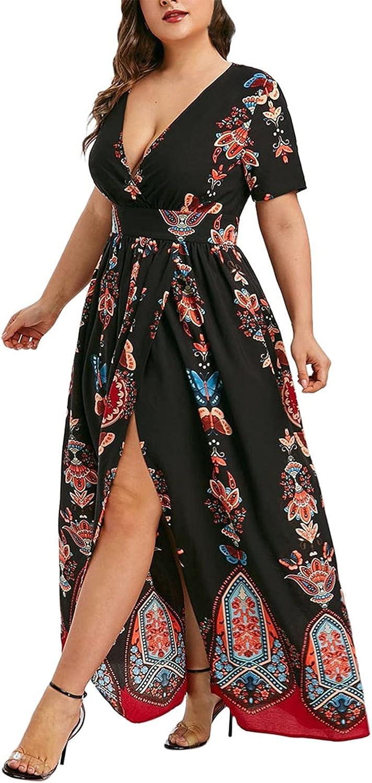 Women's Casual Plus Size Printed Sexy Swing Split V-Neck Elegant Long Maxi Dress