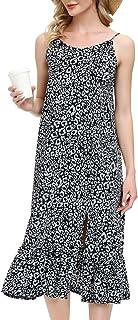 Zexxxy Womens V-Neck Leopard Printed Maxi Dress Sleevelss Long Beach Dress Side
