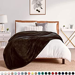 "Walensee Fleece Blanket Plush Throw Fuzzy Lightweight (Throw Size 50""x60"" Brown) Super Soft Microfiber Flannel Blankets for Couch, Bed, Sofa Ultra Luxurious Warm and Cozy for All Seasons"