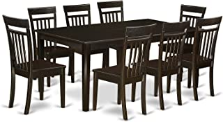 East West Furniture HECA9 CAP W 9 Piece Dining Table Set